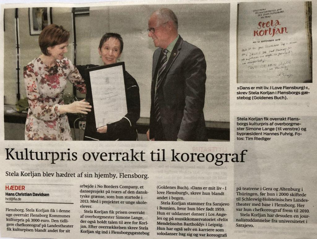 Kulturpris overrakt til koreograf